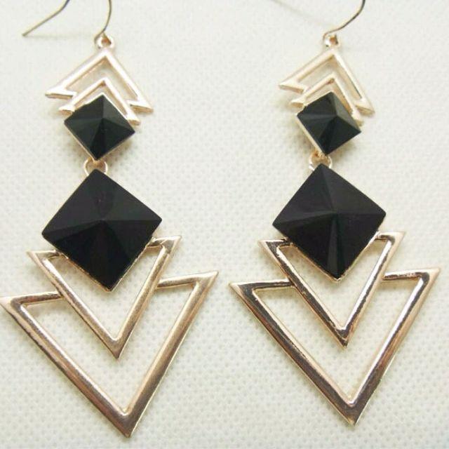 Geometric Triangle Dangle Earring