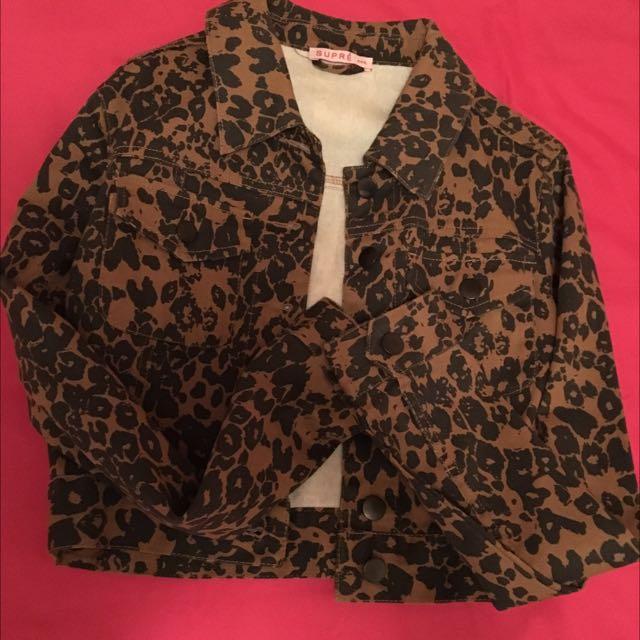 Leopard Denim Jacket XXS