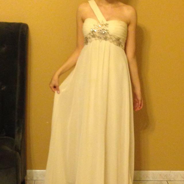 Long Formal Beige Dress