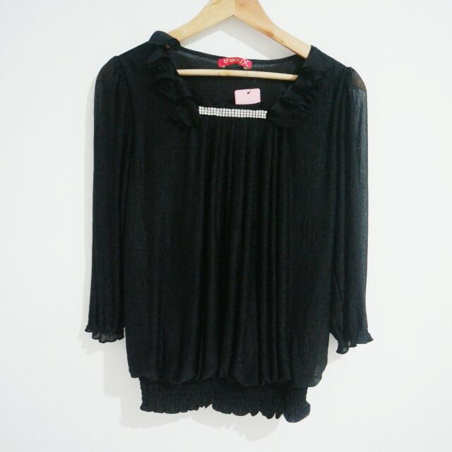 New! Theony Black Shimmer Blouse