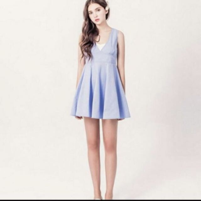 Pazzo淺藍色v領無袖洋裝
