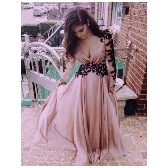 Pre-Order v neck lace pink dress long sleeve long dinner elegant ...