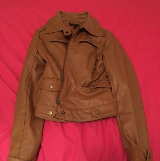 Size 8 Forever ebony Faux Leather Jacket Hardly Worn