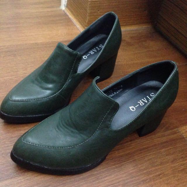 Star Q 粗跟墨綠高跟鞋