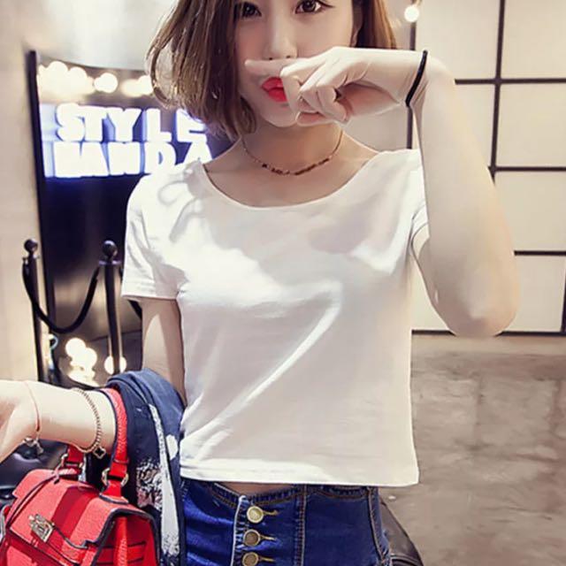 「全新免運」白色短版T恤