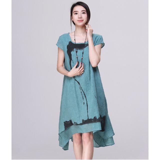 (YN032116-6) 春夏文藝範飄逸優雅寬鬆不規則棉麻洋裝棉麻連身裙棉麻衫 有3色 M-XL