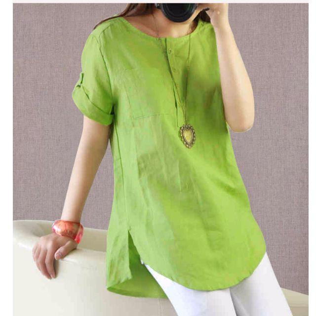 (YN032116-7) 簡約清爽優質棉麻衫棉麻上衣襯衫 有2色 M-2XL