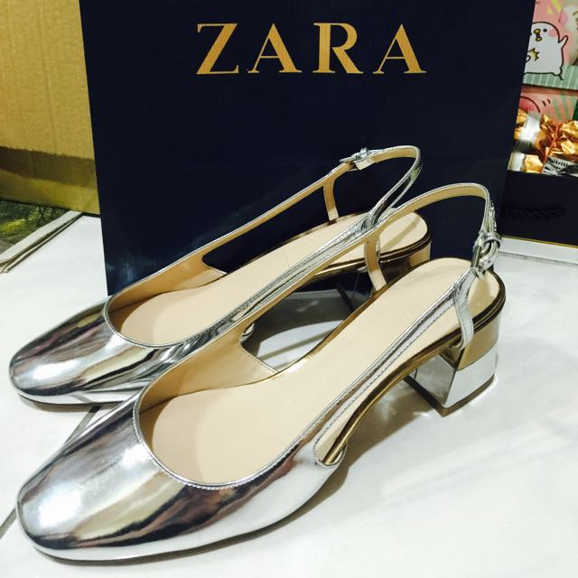 Zara 金色 金屬色 銀色 粗跟 鞋 涼鞋