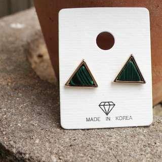 正韓 幾何三角木紋鋼針耳環