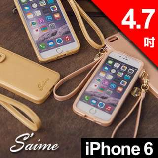 Saime 東京企劃 iPHONE6 繽紛斜紋手機套 皮套 耐用 斜紋 蘋果 apple - 金