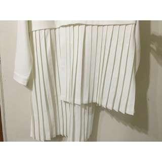 立領百摺不對稱洋裝