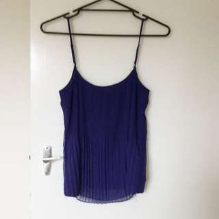 Pleated Navy Top
