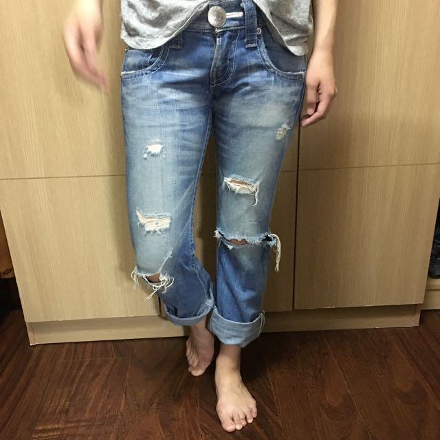 日本109品牌 SLY 男孩風破損牛仔褲 25腰 日本製