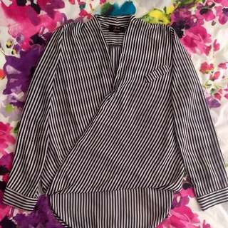 Ice Design Black and White Stripe Blouse Sz Large