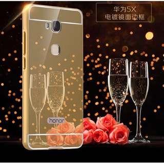 華爲 Huawei GR5 金屬邊框 鏡面後蓋 保護套 推拉式 手機殼 外殼
