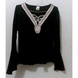Black Top with White Lace
