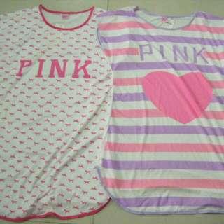 全新粉色系 PINK 牛奶絲夏季薄休閒居家服睡衣 (賣圖一右)