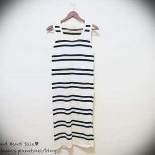 專賣自黃小米 黑白條紋 連身針織長裙 洋裝