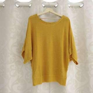 Mustard Knit Jumper/dress Size 8