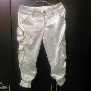 綢緞白色七分褲👖