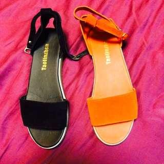 黑色/橘紅色綁帶平底涼鞋
