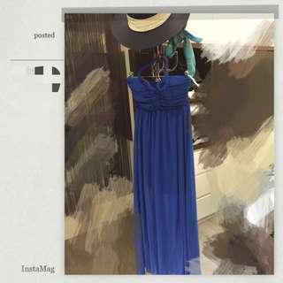 全新繞頸寶藍紡紗長裙