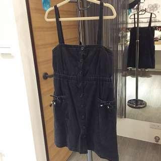 全新黑色鬆緊吊帶裙