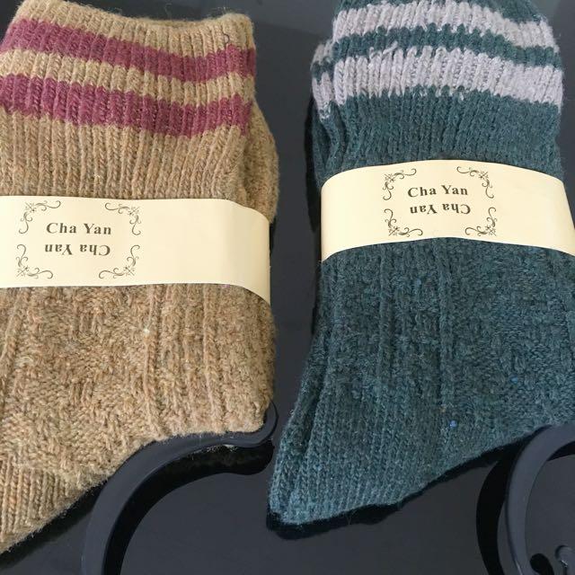 日系條紋素色長襪售2色(草地綠、芥末黃)