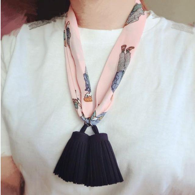 ░復古流蘇圖騰小圍巾領結4色 (現貨粉)