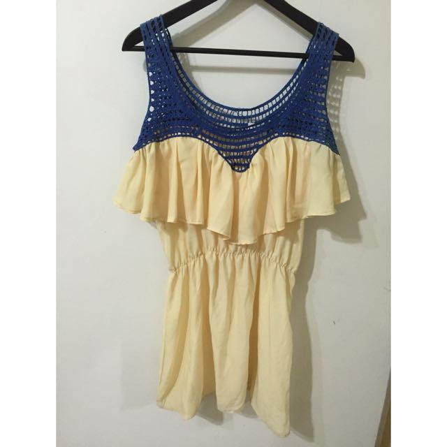 藍黃俏皮配色小洋裝