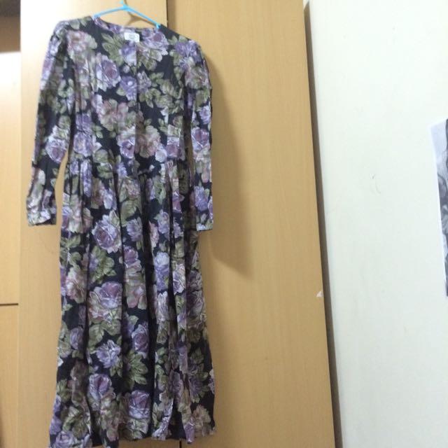 紫色復古長裙