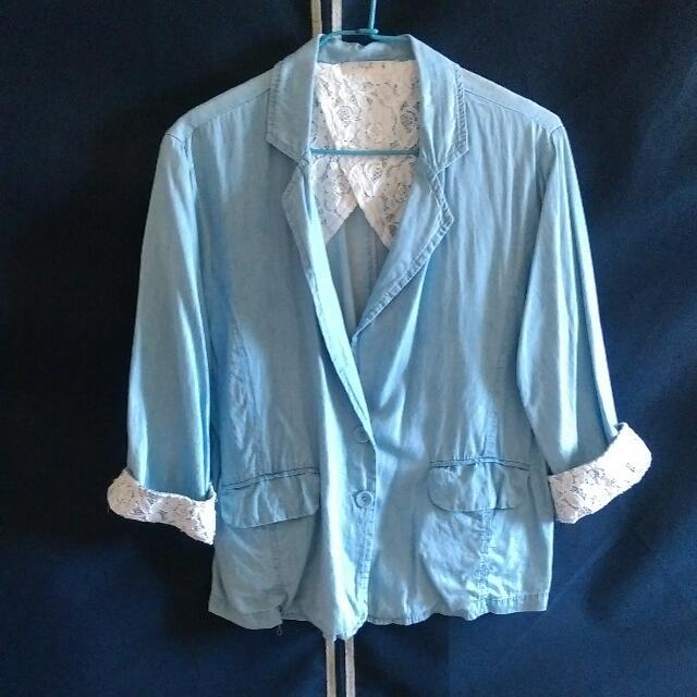 🔅小清新🔅丹寧七分袖氣質蕾絲薄外套