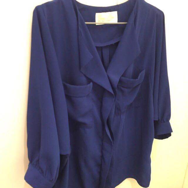 V領七分袖藍雪紡上衣