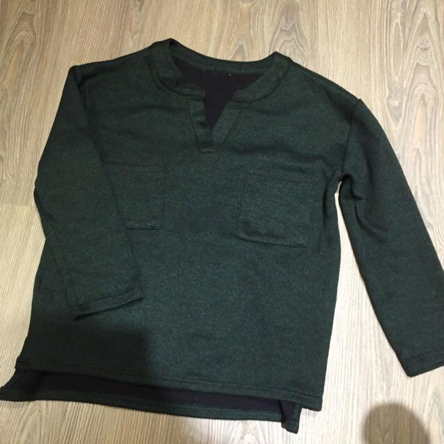 韓版七分袖前短後長墨綠上衣