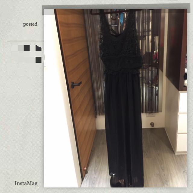 全新雕花紡紗鬆緊黑長裙