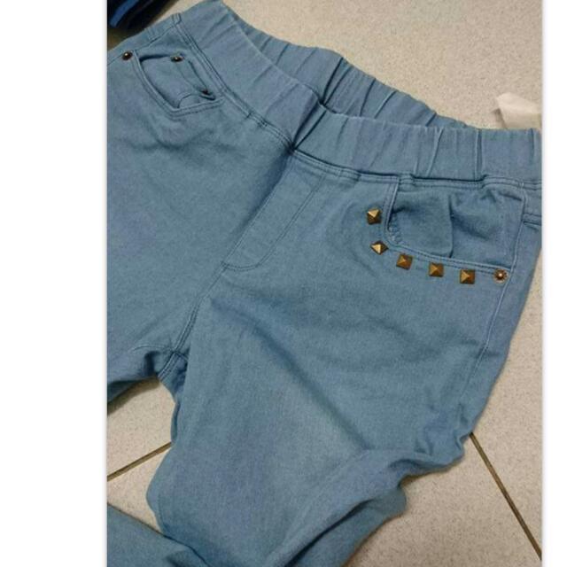 淺藍鉚釘鬆緊褲