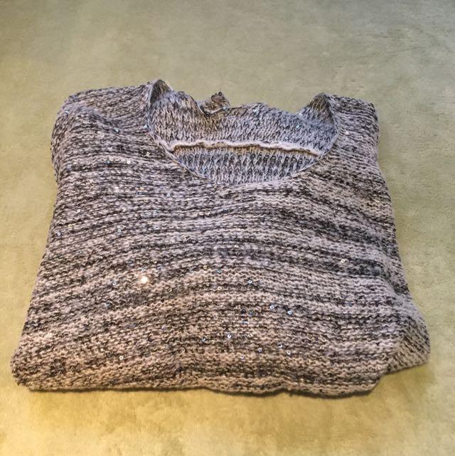 ✨針織收藏✨ 灰色前短後長針織衫