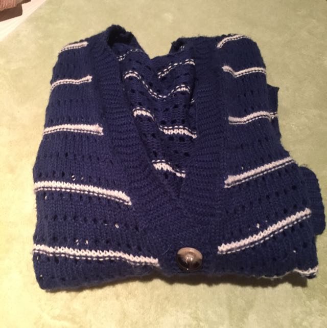 ✨針織收藏✨ 深藍條紋針織外套
