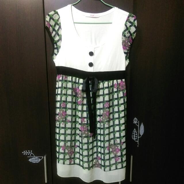 雪紡小花格子 氣質裙 🌼