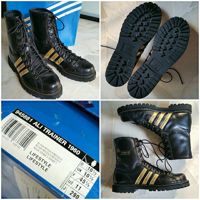cascada aficionado milicia  SOLD* ADIDAS Adidas Original x Muhammud Ali Collection ALI TRAINER 1960  Boxing / Lifestyle Boots BLACK with GOLD Details 945681 US 11, Luxury on  Carousell