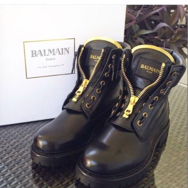 Balmain Boots Black And Gold
