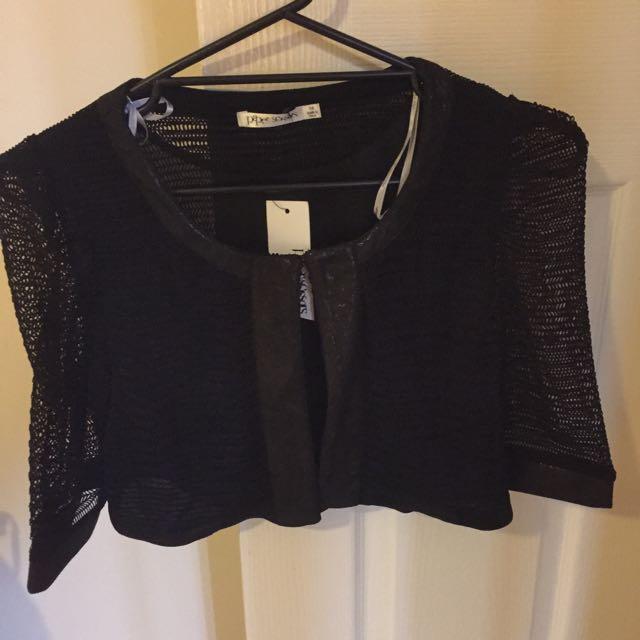Black Crop Jacket Size 14 Nwt