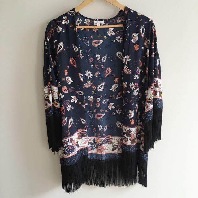 Floral Tassled Cape/ Jacket/ Kimono