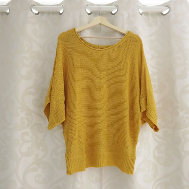 Mustard Knit Jumper/dress Size 8