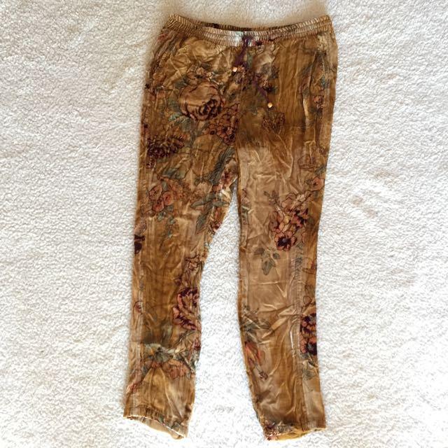 Gold Floral Velvet Pants M