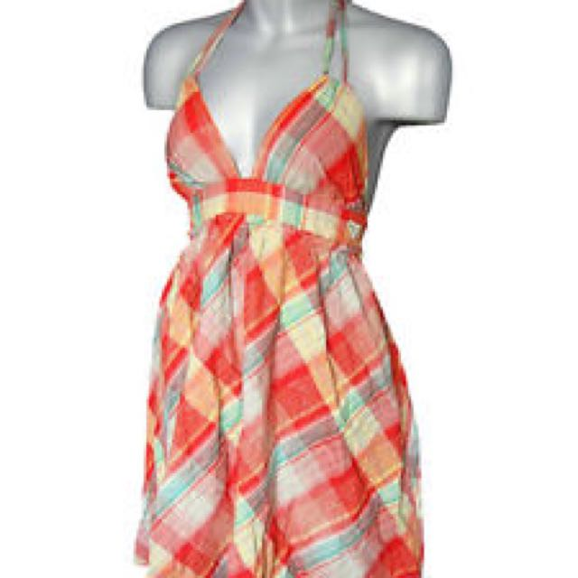 Halter Neck Checkered Dress