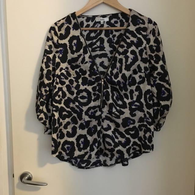 Leopard Print Top Size 8