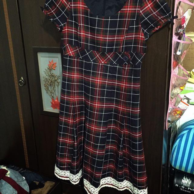 Ma tsu mi 經典格紋洋裝 蕾絲