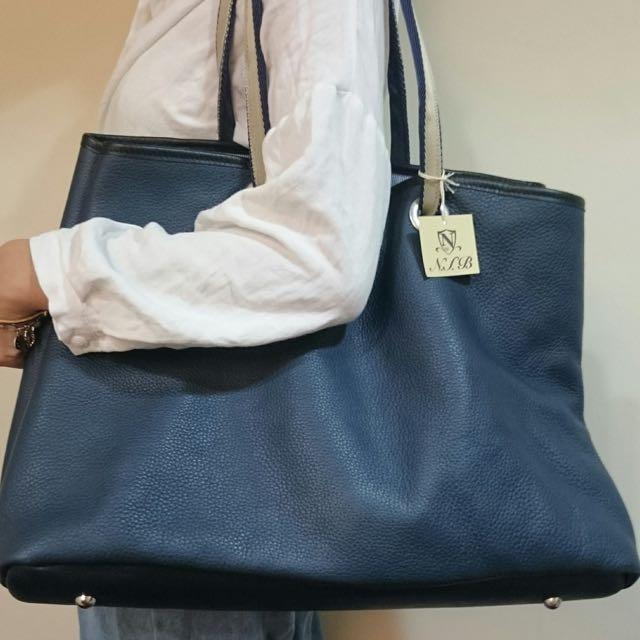 (New)日本N.I.B手工包-Garden tote藍色