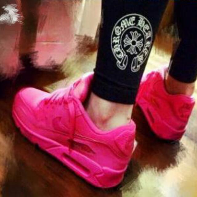 Nike air max 90 gs螢光粉紅